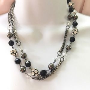 Jewelry - Black Silver Chain Crystal Long Necklace
